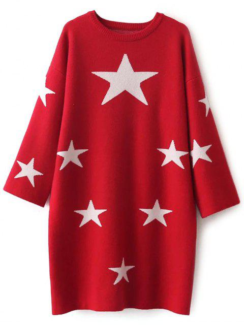 best Stars Jacquard Sweater Dress - RED ONE SIZE Mobile