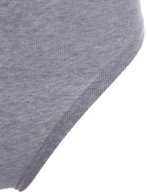 lady High Neck Backelss Bodysuit - GRAY M Mobile