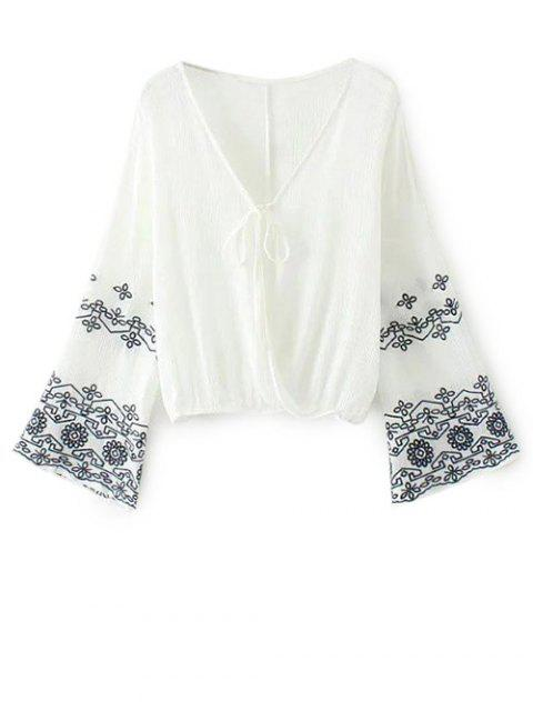 lady Embroidered Loose Surplice Blouse - WHITE S Mobile