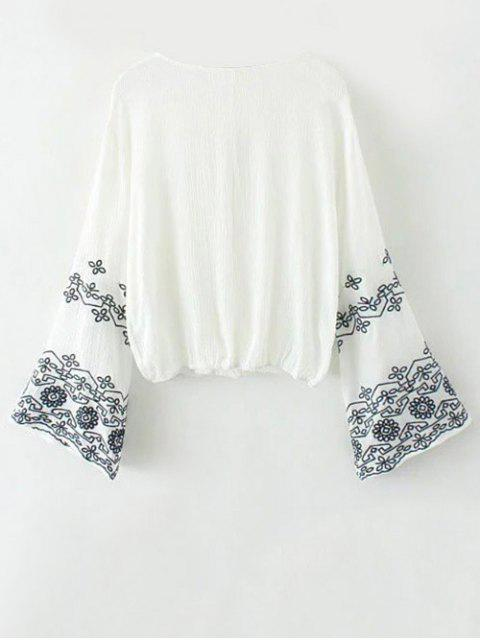 ladies Embroidered Loose Surplice Blouse - WHITE M Mobile