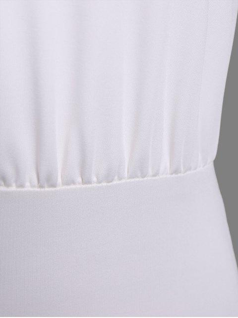 unique Ruched Split Sleeve Bodysuit - WHITE XL Mobile