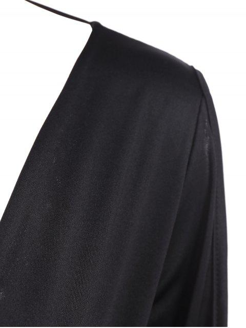 women Ruched Split Sleeve Bodysuit - BLACK L Mobile