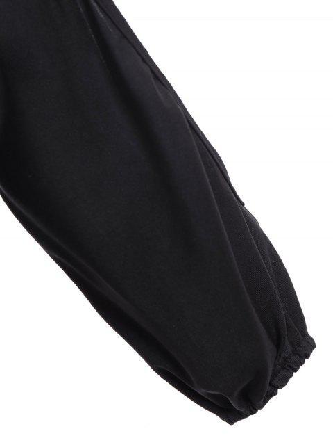 combinaison ajusté ruché à manches fendues - Noir XL Mobile
