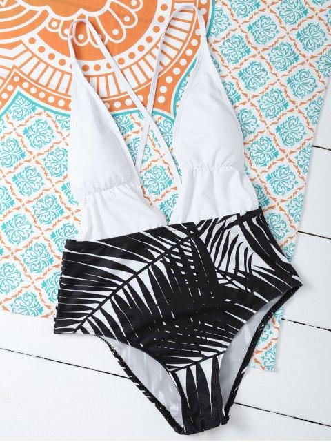 women's Leaf Print Low Cut Swimwear - WHITE XL Mobile