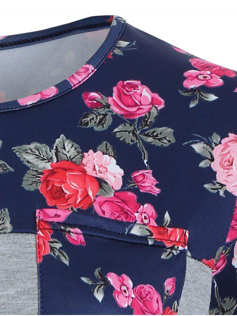 womens Loose Floral Tee - GRAY M Mobile