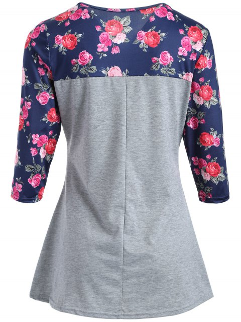 affordable Loose Floral Tee - GRAY XL Mobile