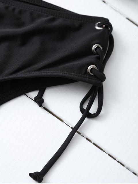 ladies Strappy Lace-Up Bikini Set - BLACK L Mobile