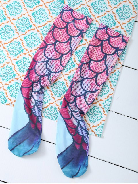 women's Skinny Mermaid Print Stockings - PINK ONE SIZE Mobile