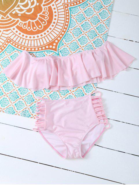 buy Padded Ruffles Top With Cutout Briefs Bikini - PINK XL Mobile