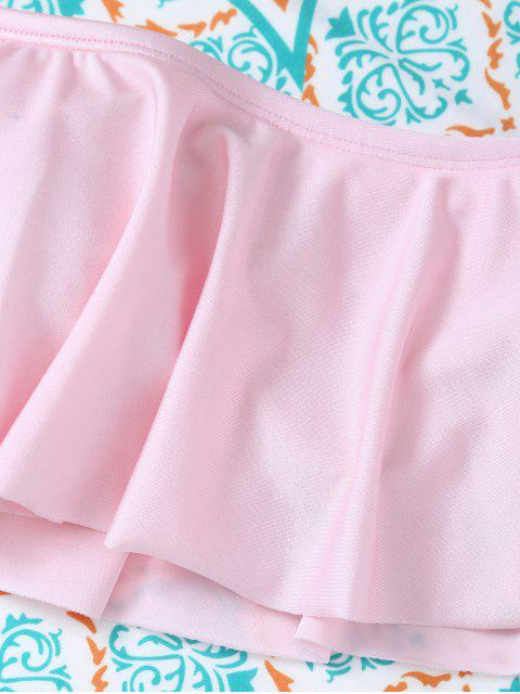 women Padded Ruffles Top With Cutout Briefs Bikini - PINK M Mobile