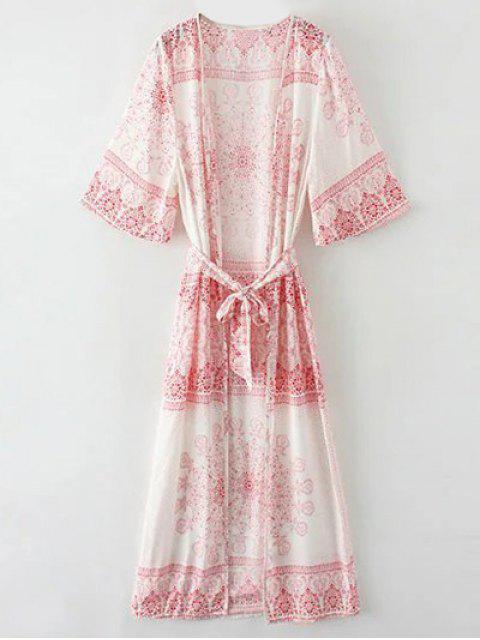 affordable Retro Print Collarless Wrap Duster Coat - RED S Mobile
