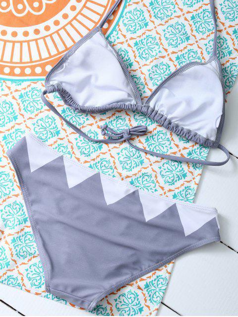 trendy Cartoon Shark Pattern Halter Bikini - GRAY L Mobile