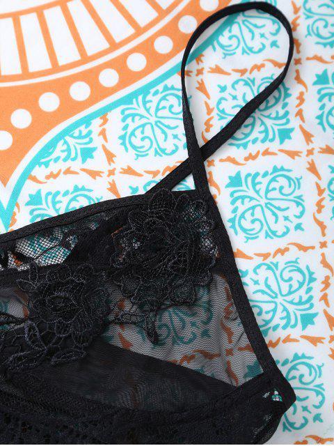 women's Lace Panel High Waisted Bra Set - BLACK L Mobile