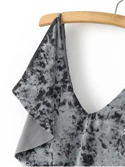 affordable Velvet Self Tie Ruffles Top - GRAY L Mobile