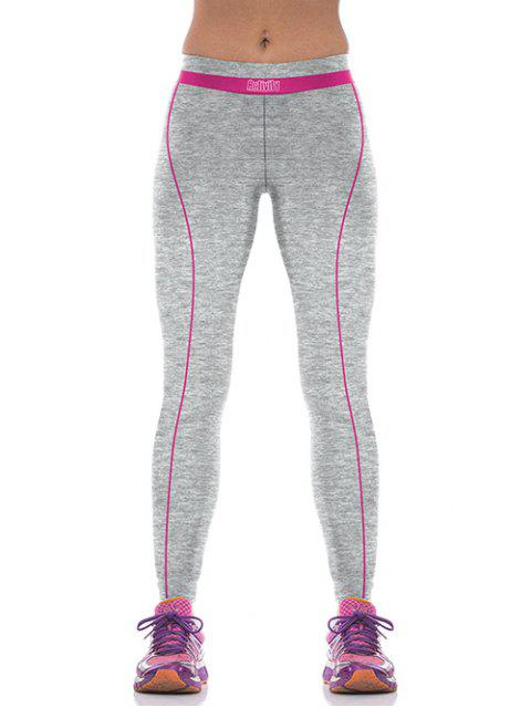 chic Yoga Color Block Sports Pants - ROSE RED M Mobile