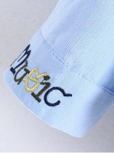 best Patched Bowknot Embroidered Shirts - WHITE M Mobile