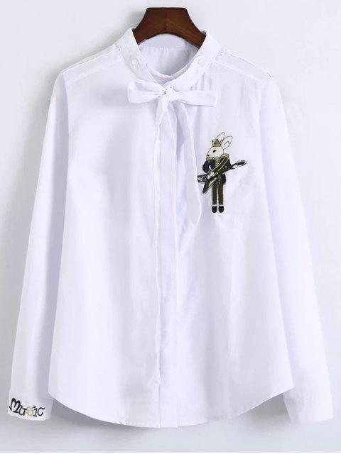 lady Patched Bowknot Embroidered Shirts - WHITE L Mobile