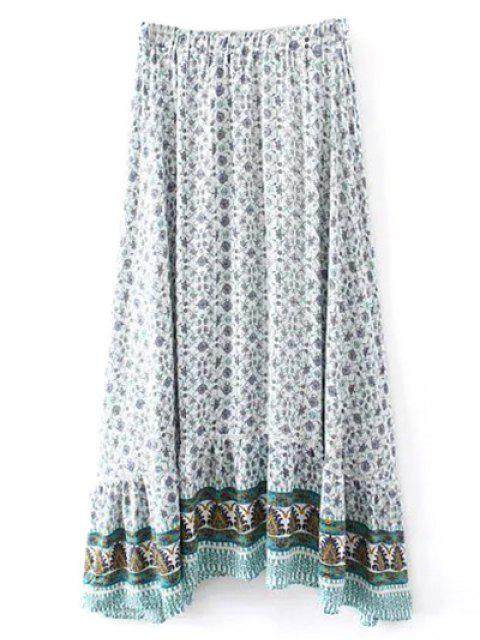 outfit Patterned High Low Maxi Boho Skirt - WHITE M Mobile