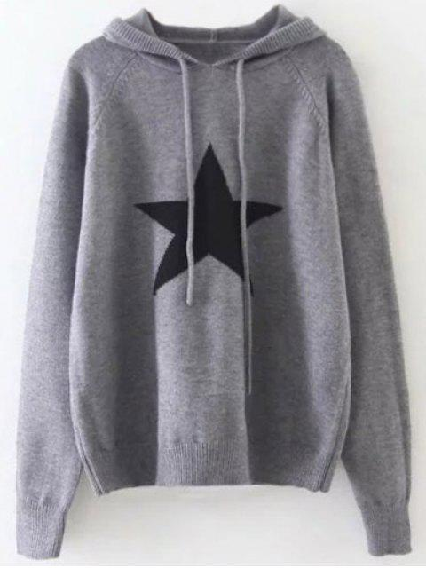 online Hooded Star Graphic Sweater - GRAY ONE SIZE Mobile