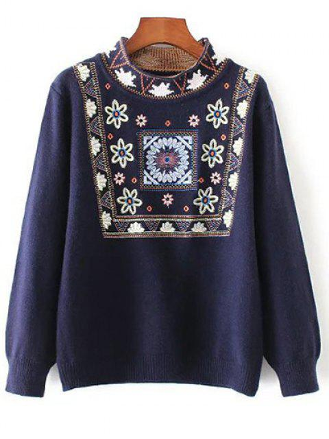 outfits High Neck Graphic Sweater - PURPLISH BLUE ONE SIZE Mobile