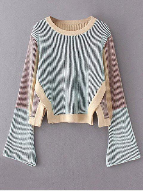 fashion Striped Side Slit Sweater - BLUE ONE SIZE Mobile