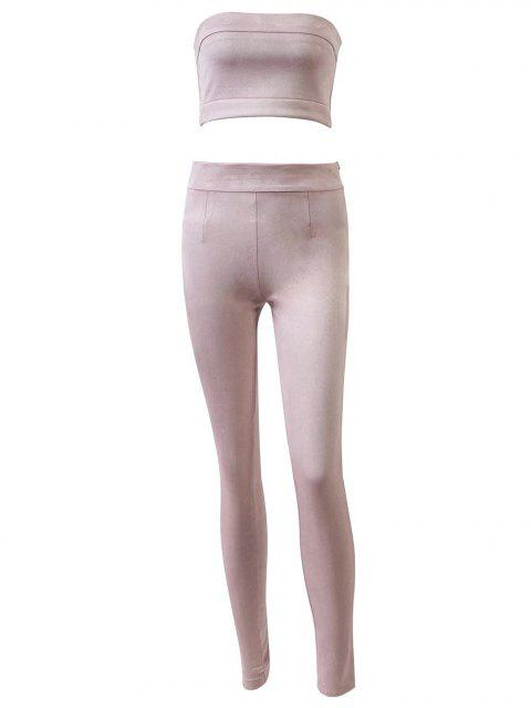 fashion High Rise Suede Pants with Tube Top - PINK S Mobile
