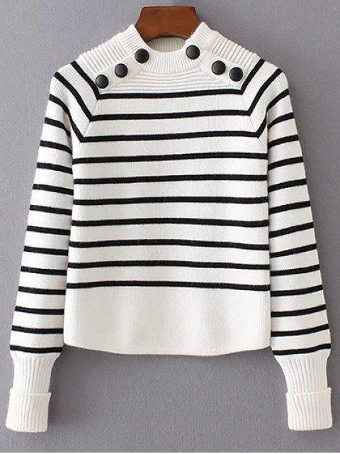 unique Striped Mock Neck Sweater - WHITE L Mobile