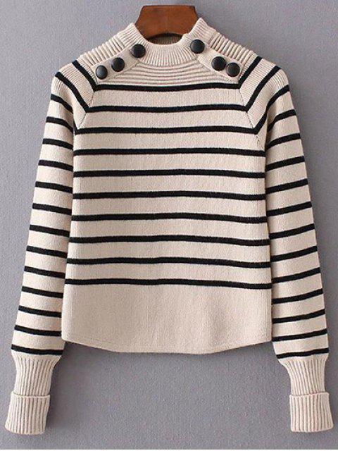 women Striped Mock Neck Sweater - BEIGE S Mobile