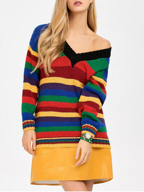 buy Long Striped V Neck Sweater - BLUE ONE SIZE Mobile