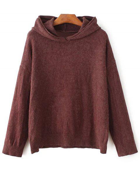 fancy Long Sleeve Hoodie Sweater - DARK RED ONE SIZE Mobile