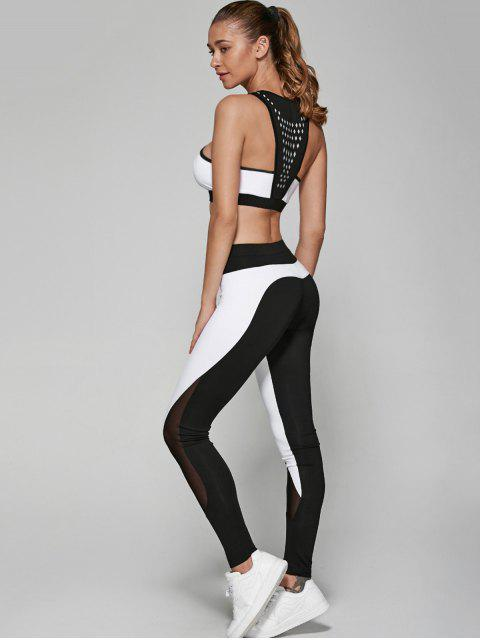 best Geometric Print Bra and Mesh Leggings - WHITE AND BLACK S Mobile
