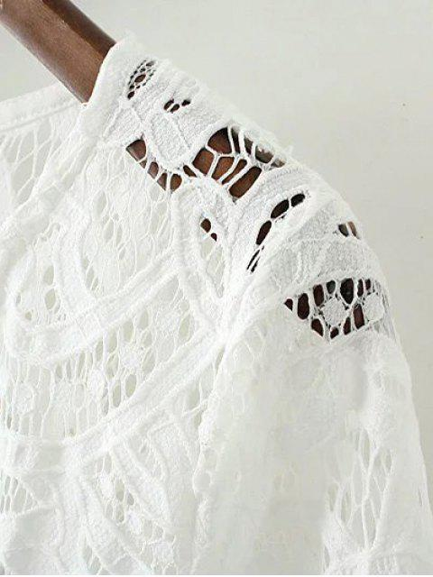 womens V Neck Bell Sleeve Lace Dress - WHITE L Mobile