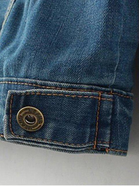affordable Hooded Denim Panel Jacket - DENIM BLUE S Mobile