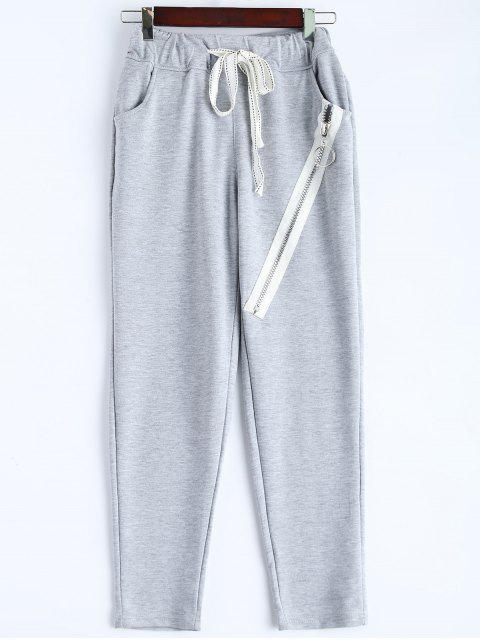 best Zip Design Drawstring Sweatpants - LIGHT GRAY M Mobile