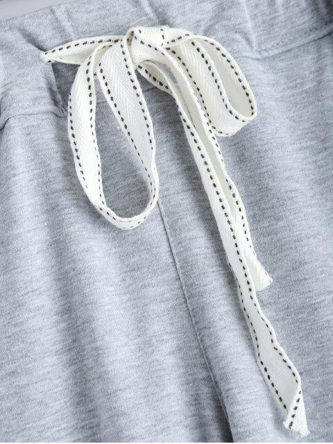 latest Zip Design Drawstring Sweatpants - LIGHT GRAY XL Mobile