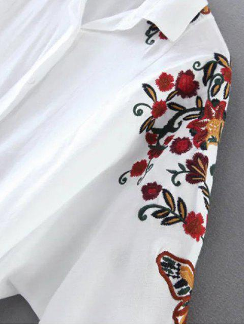 hot Cropped Flower Embroidered Shirt - WHITE S Mobile
