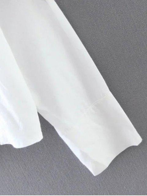 new Cropped Flower Embroidered Shirt - WHITE M Mobile