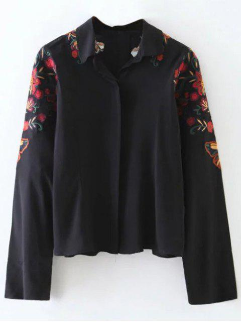 outfits Cropped Flower Embroidered Shirt - BLACK M Mobile
