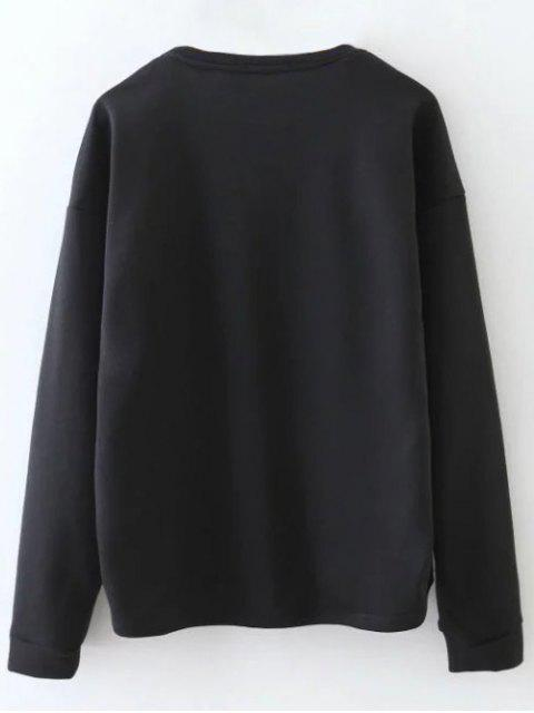 sale Tiny Flower Embroidered Sweatshirt - BLACK L Mobile