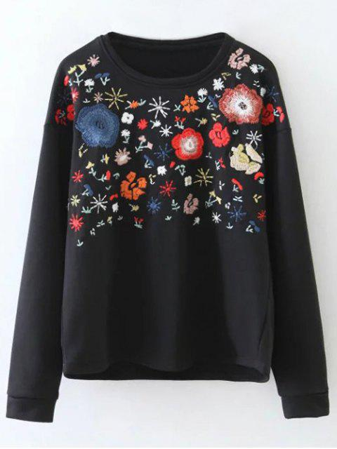 affordable Tiny Flower Embroidered Sweatshirt - BLACK M Mobile