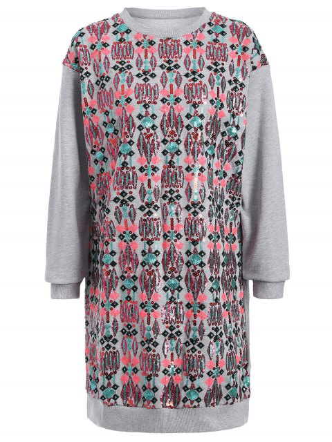 womens Embroidered Sequined Long Sleeve Dress - GRAY M Mobile