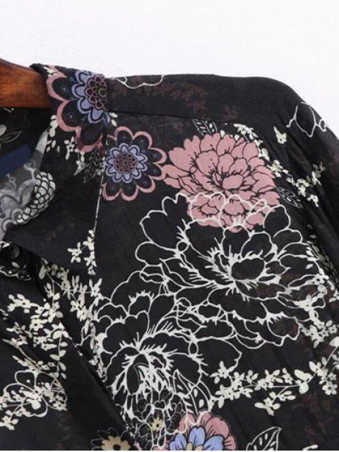 best High Low Retro Floral Shirt Dress - BLACK S Mobile
