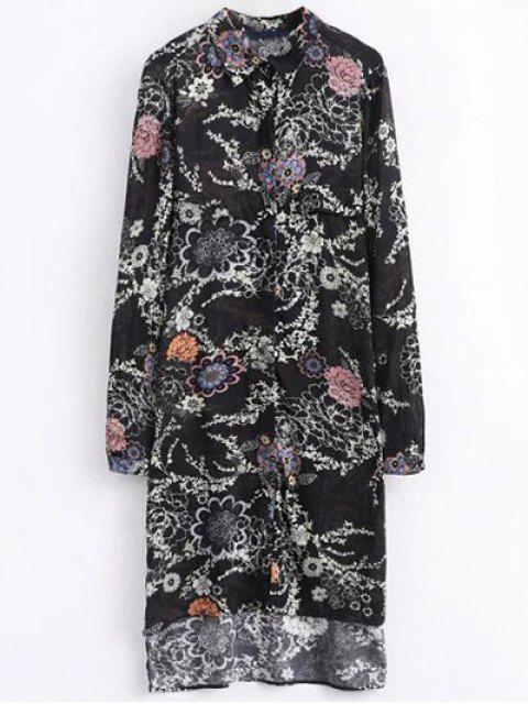 ladies High Low Retro Floral Shirt Dress - BLACK L Mobile