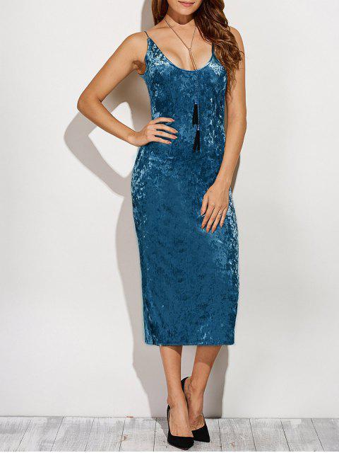 outfit Back Slit Velvet Cami Pencil Dress - BLUE M Mobile