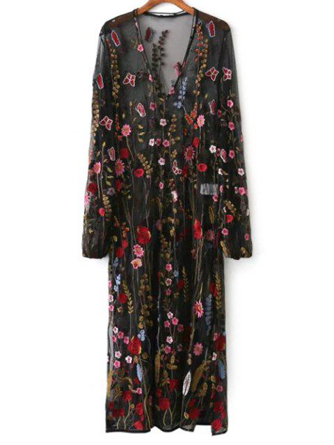 online Mesh Floral Embroidered Sheer Dress - BLACK L Mobile