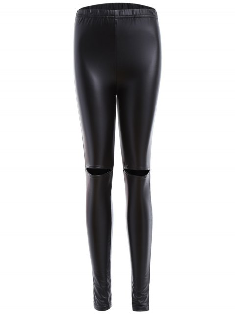 trendy Distressed Faux Leather Leggings - BLACK XL Mobile