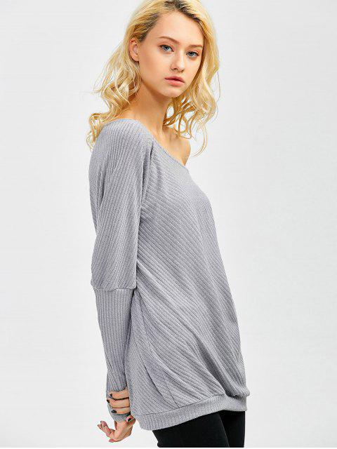 new Asymmetric Neckline Batwing Sweater - GRAY XL Mobile