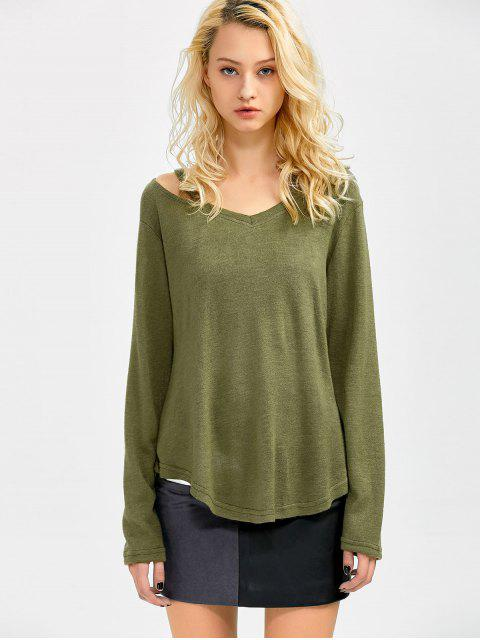 fancy Cut Out Pullover Sweater - ARMY GREEN M Mobile