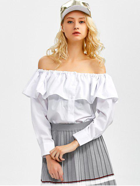 lady Frilled Off The Shoulder Blouse - WHITE L Mobile