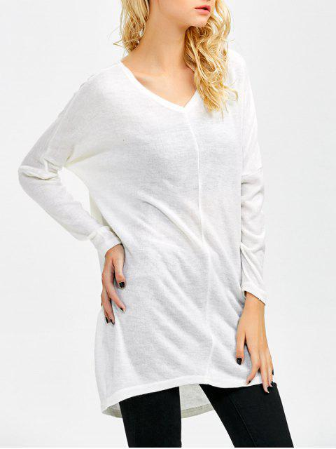 unique V Neck Batwing Sleeve Sweater - WHITE L Mobile